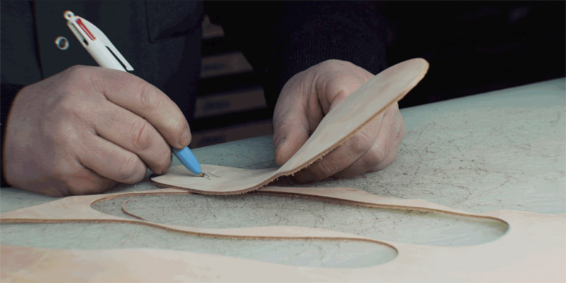 Sole cutting for the models of the Joseph Malinge luxury shoe collection